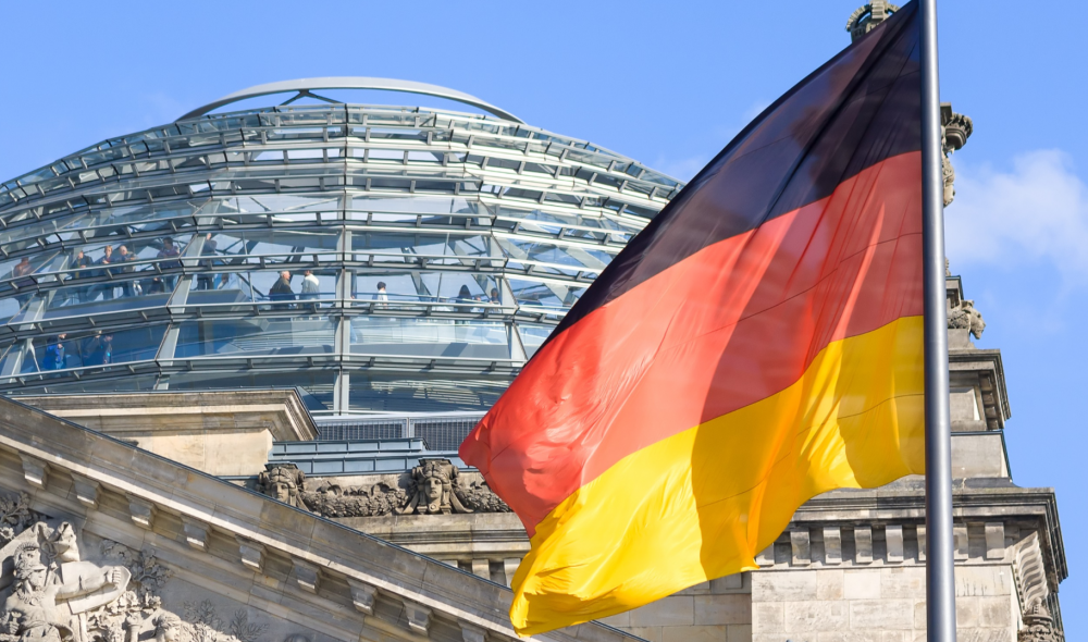 German flag in front of parliament building
