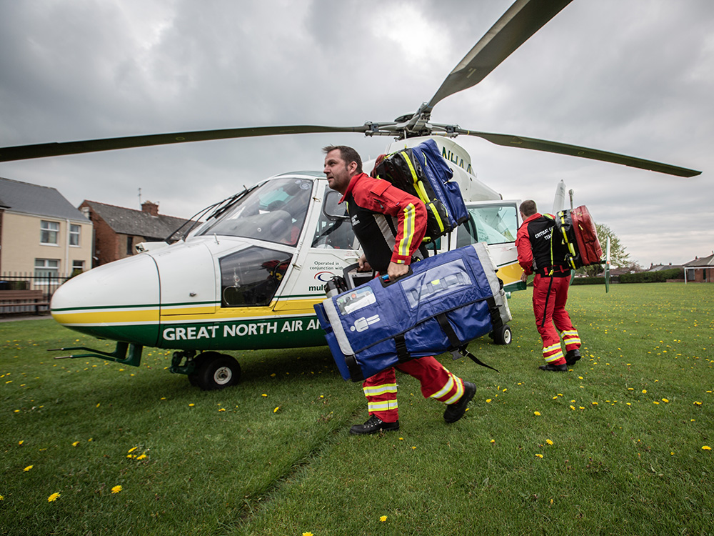 GNAAS team in action outside of an Air Ambulance