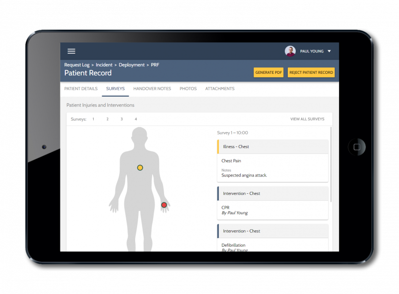 iPad showing details of a patient observation within the ARCEMS software